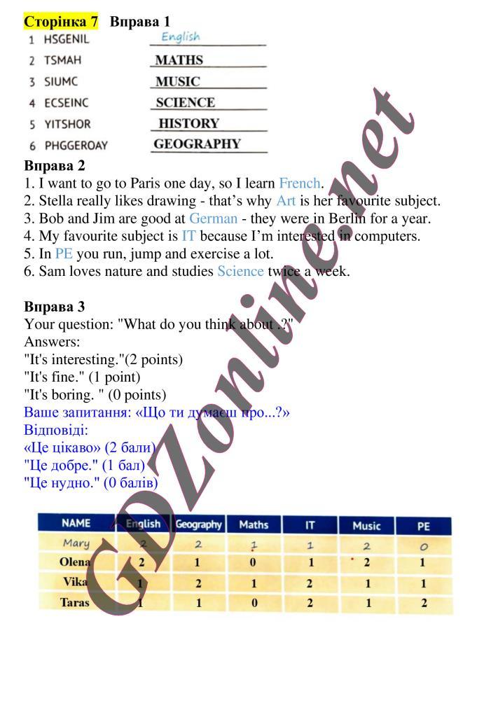 гдз 7 клас англ мова оксана