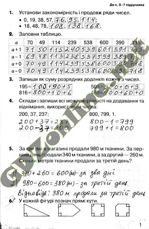 Готові домашні завдання 4 клас з математики школа