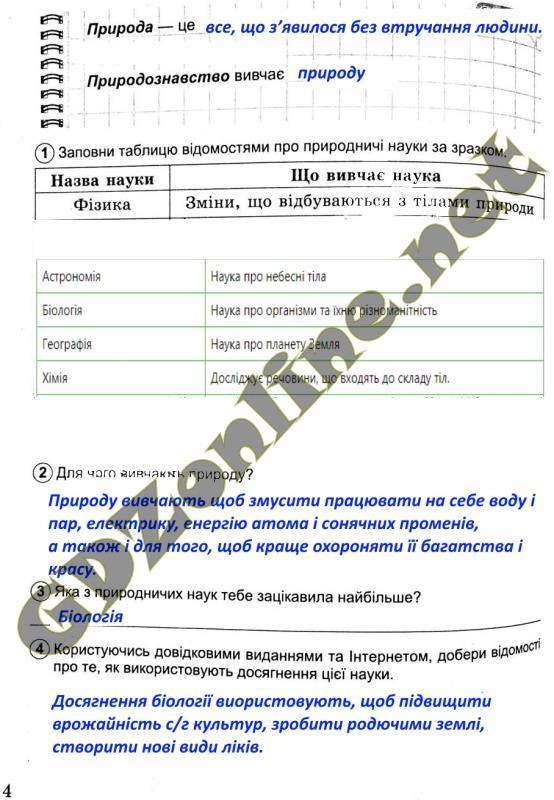 Природознавство 5 класс Коршевнюк ГДЗ ответы