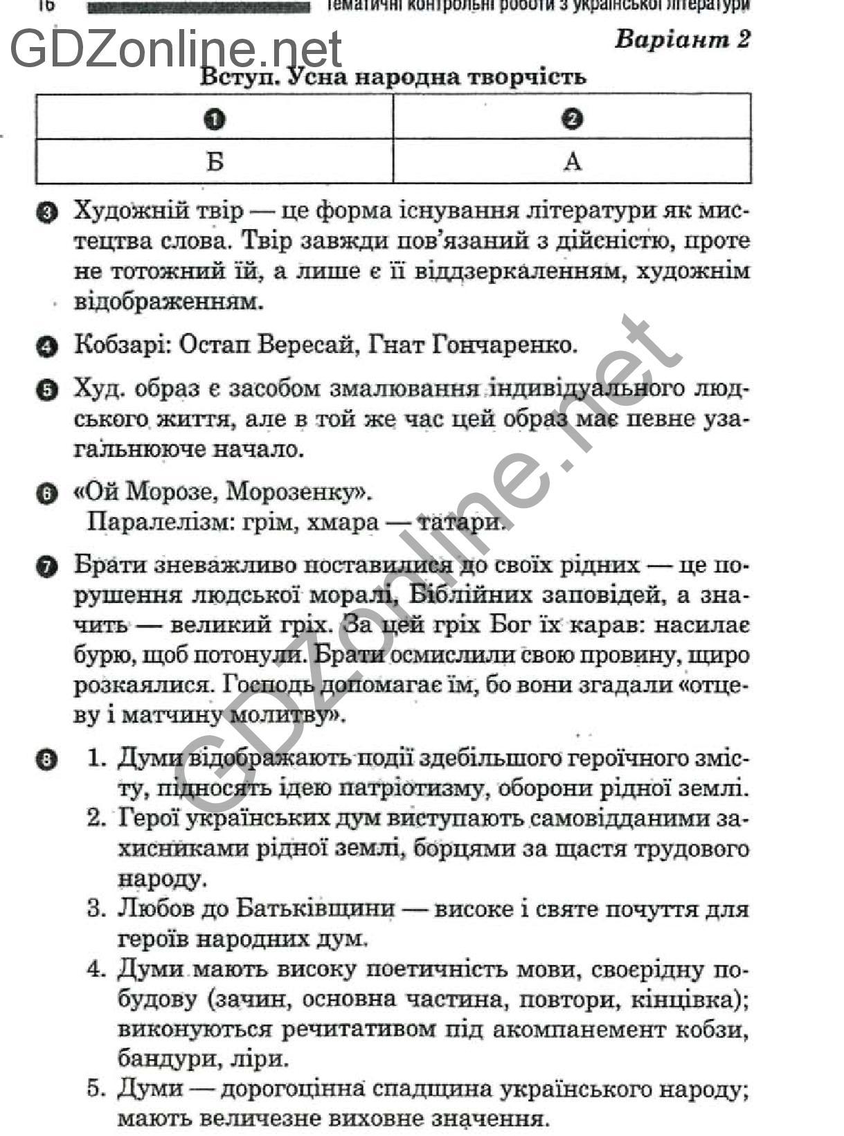 Гдз 8 клас украинська лотература
