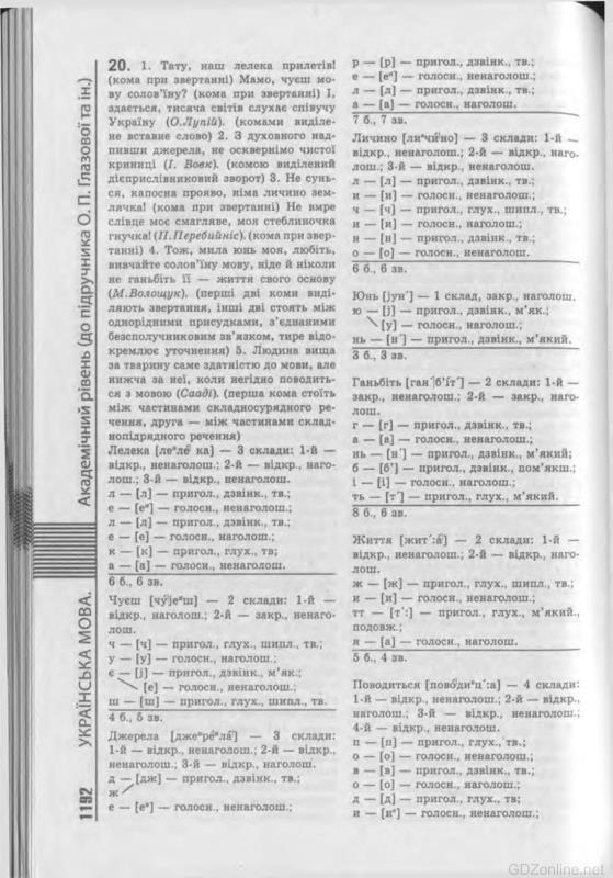 Решебник по украинский мови 10 класс глазова